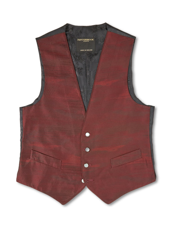 Burgundy Ikat Silk Single-Breasted 4-Button Piped Waistcoat