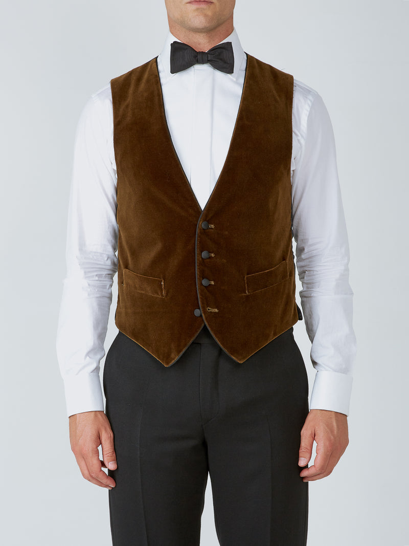 Cardamon Velvet Cotton Single Breasted 4 Button Piped Waistcoat