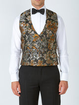 Olive Chatsworth Silk Blend Double Breasted 8 Button Shawl Lapel Waistcoat