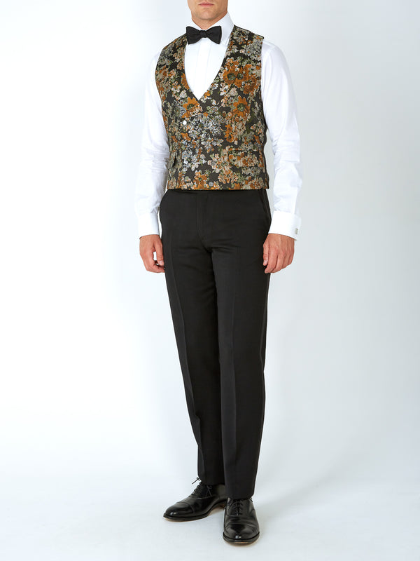 Olive Chatsworth Silk Blend Double-Breasted 8-Button Shawl Lapel Waistcoat