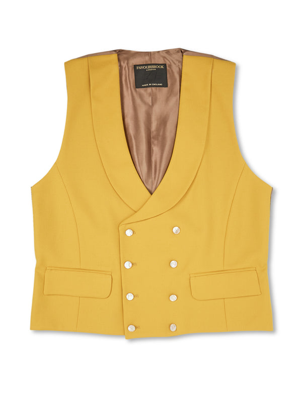Butterscotch Wool Double-Breasted 8-Button Shawl Lapel Waistcoat