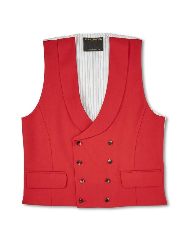 Scarlet Wool Wool Double-Breasted 8-Button Shawl Lapel Waistcoat