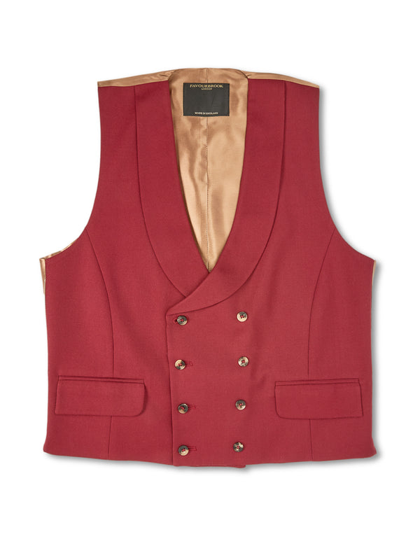 Wine Wool Double-Breasted 8-Button Shawl Lapel Waistcoat