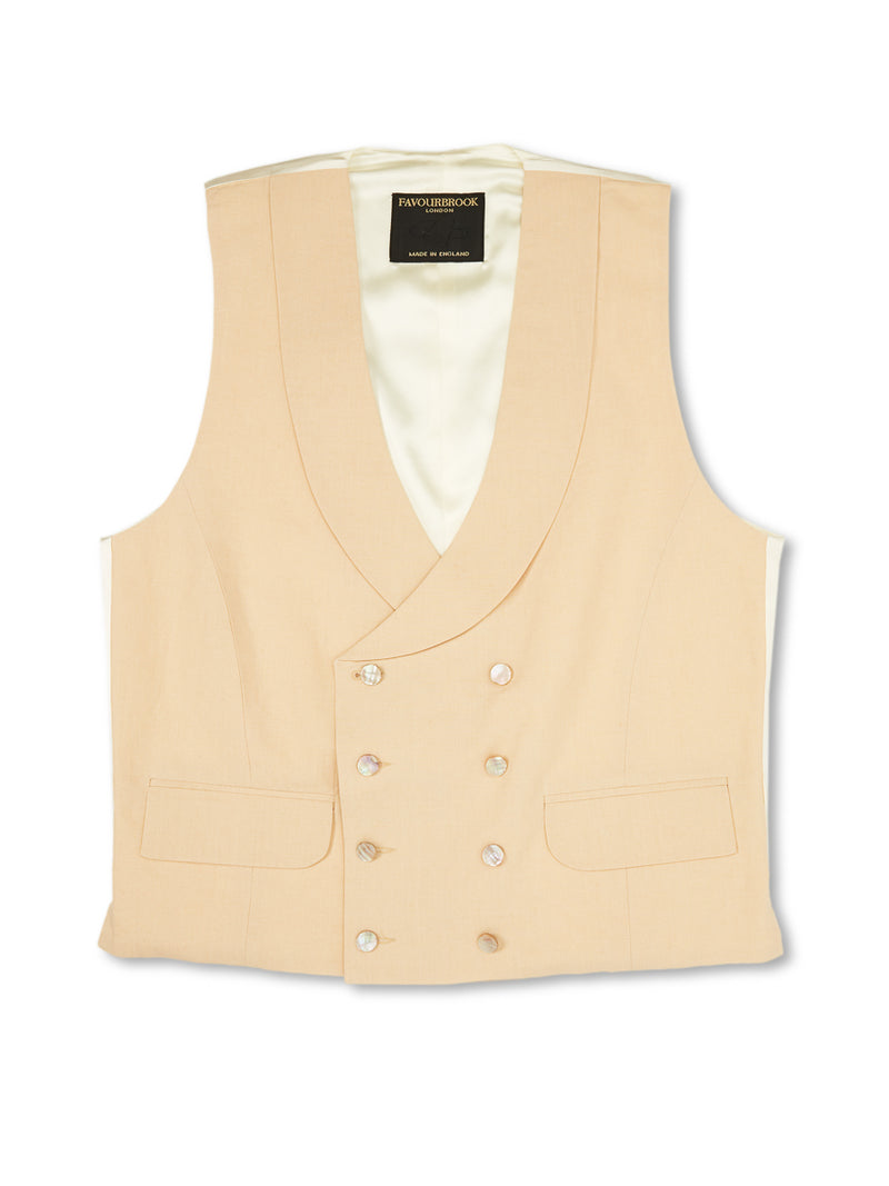 Dark Cream Linen Double-Breasted 8-Button Shawl Lapel Waistcoat