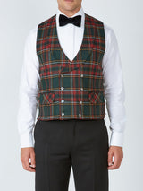 Multi Dunrobin Wool Double Breasted 8 Button Shawl Lapel Waistcoat