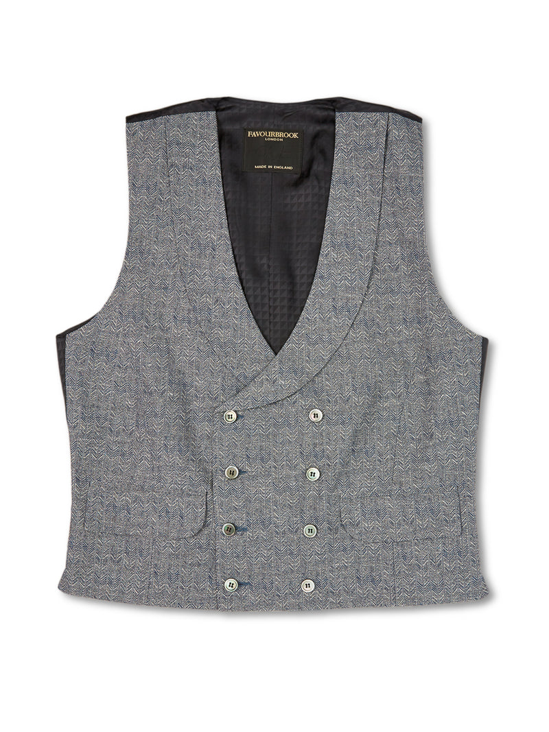 Navy Halton Silk Double Breasted 8 Button Shawl Lapel Waistcoat