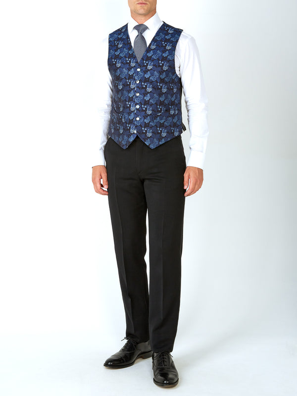 Navy Brimstone Silk Single Breasted 6 Button Waistcoat