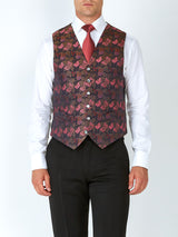 Charcoal Pink Brimstone Silk Single Breasted 6 Button Waistcoat