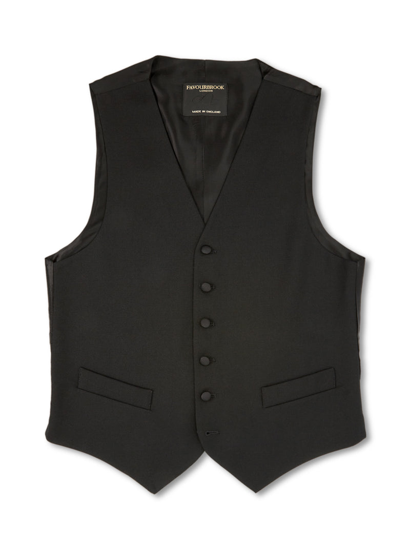 Black Gabardine Wool Single-Breasted 6-Button Waistcoat