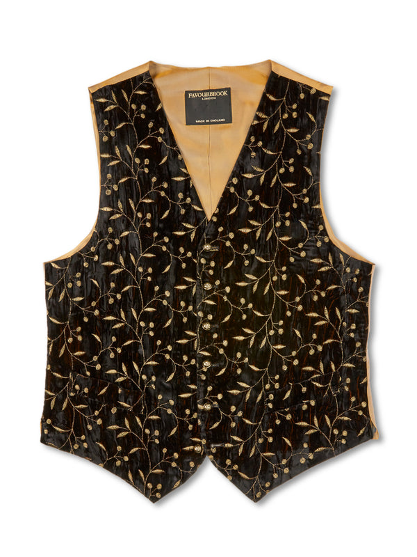 Black Lurex Berries Velvet Single-Breasted 6-Button Waistcoat