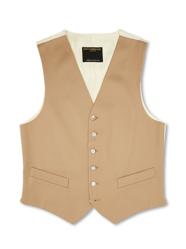 Beige Gabardine Wool Single-Breasted 6-Button Waistcoat
