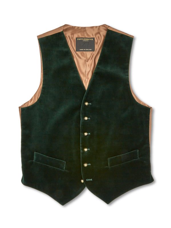 Racing Green Velvet Cotton Single-Breasted 6-Button Waistcoat