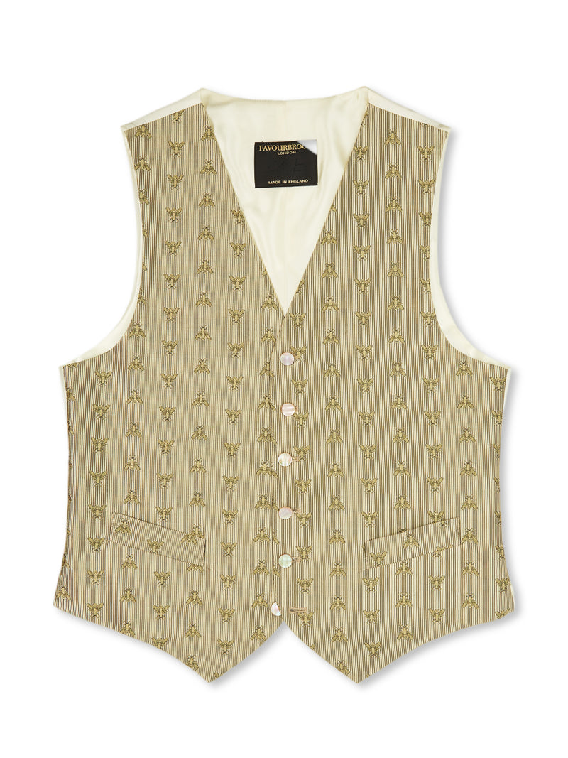 Gold Bees Silk Single-Breasted 6-Button Waistcoat
