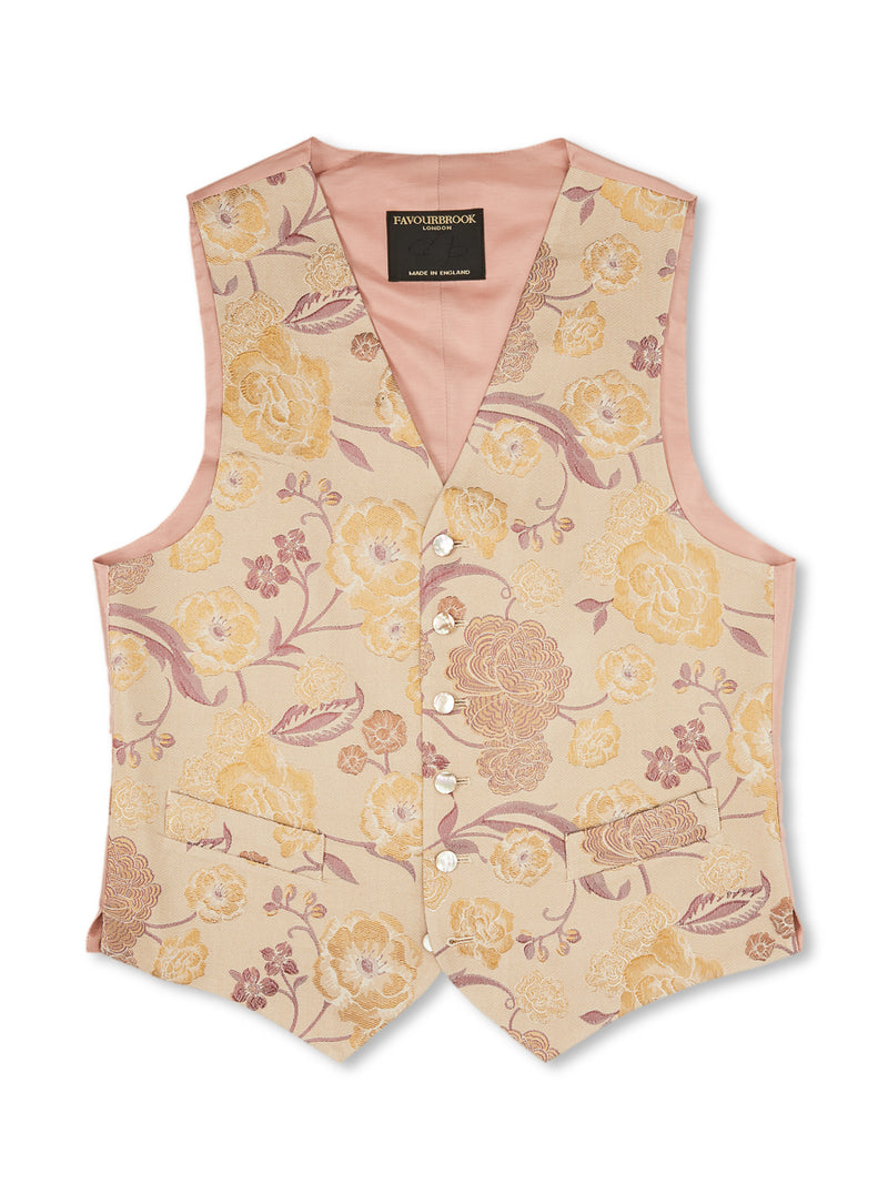 Gold Winnington Silk/ Wool Single-Breasted 6-Button Waistcoat