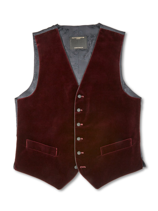 Burgundy Velvet Cotton Single-Breasted 6-Button Piped Waistcoat