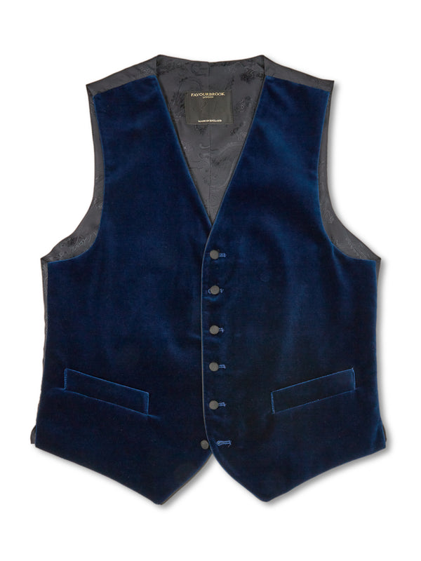 Marine Blue Velvet Cotton Single-Breasted 6-Button Piped Waistcoat