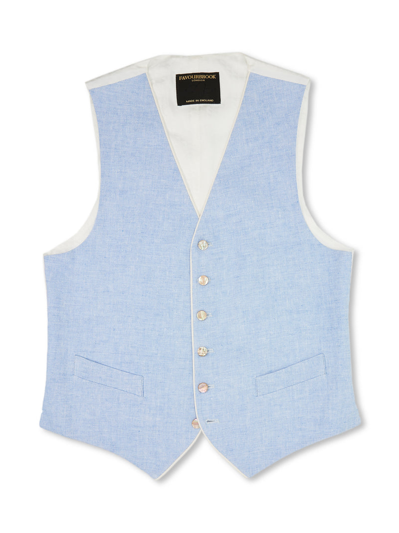 Sky Evering Linen Single-Breasted 6-Button Piped Waistcoat