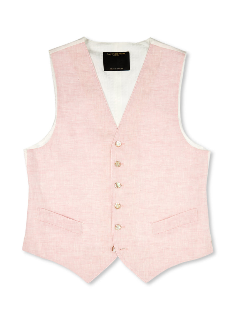 Pink Linen Single-Breasted 6-Button Piped Waistcoat