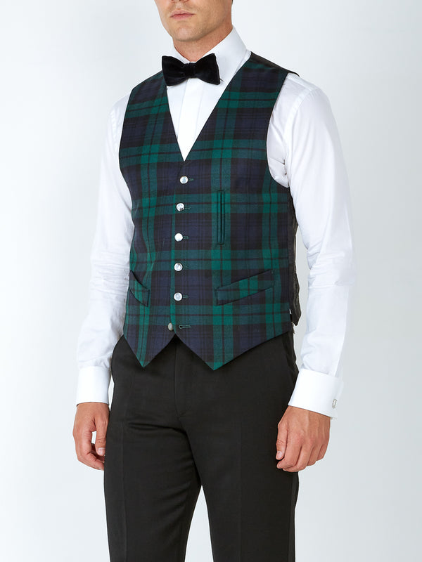 Blackwatch Tartan Wool Single-Breasted 6-Button Waistcoat with Ticket Pocket
