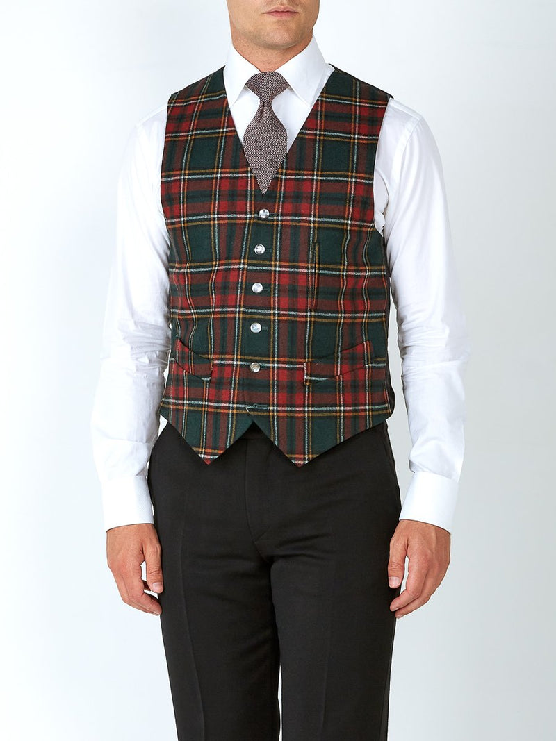 Multi Dunrobin Wool Single Breasted 6 Button Ticket Pocket Waistcoat