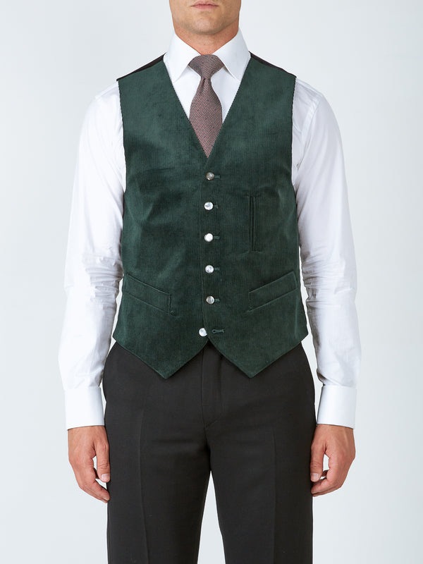 Green Penton Cord Cotton Single-Breasted 6-Button Ticket Pocket Waistcoat