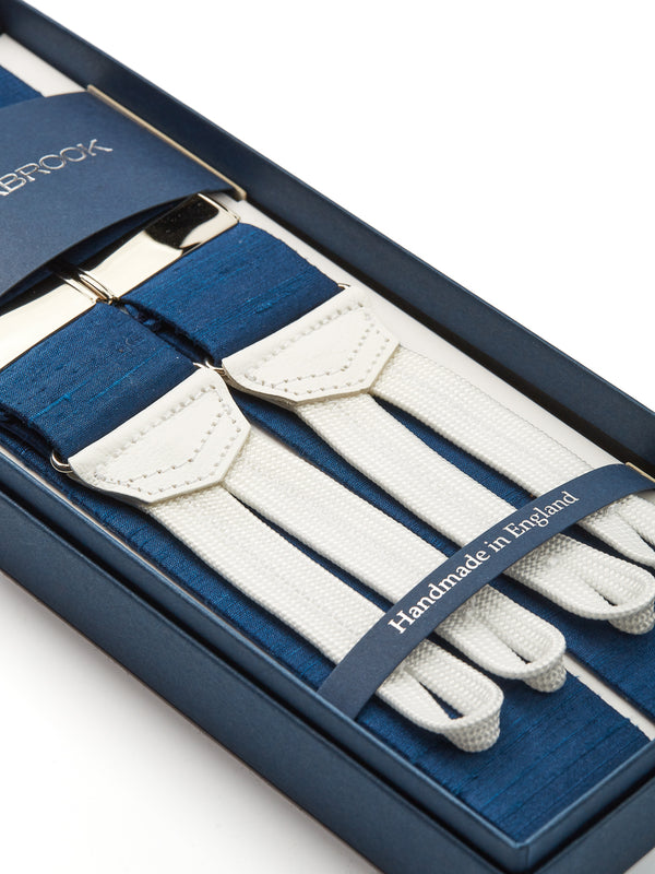 French Navy Douppion Silk Braces