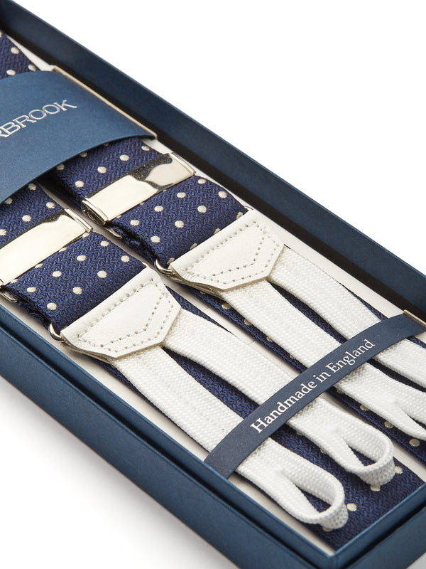 Navy Pickwick Silk Braces