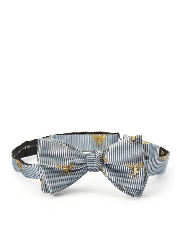 Powder Blue Bees Silk Bow Tie