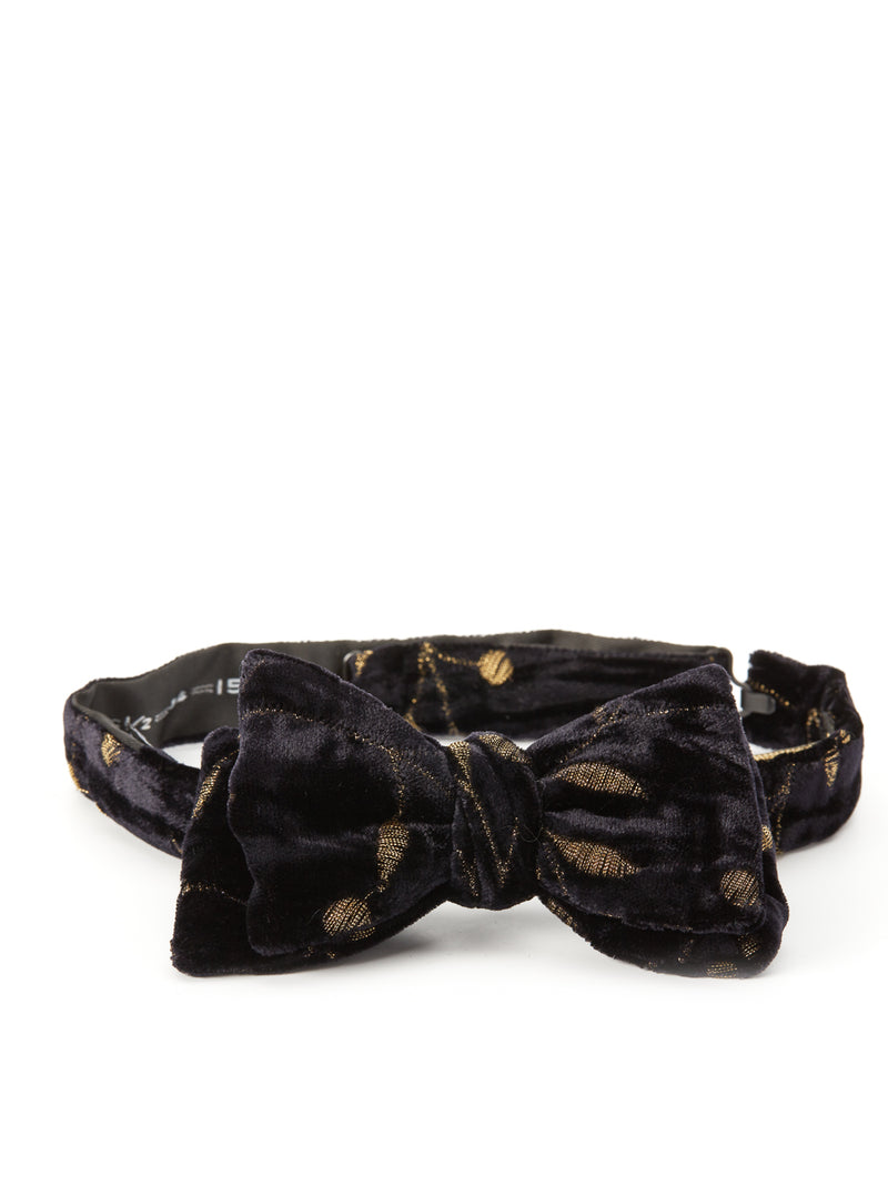 Black Lurex Berries Silk Bow Tie