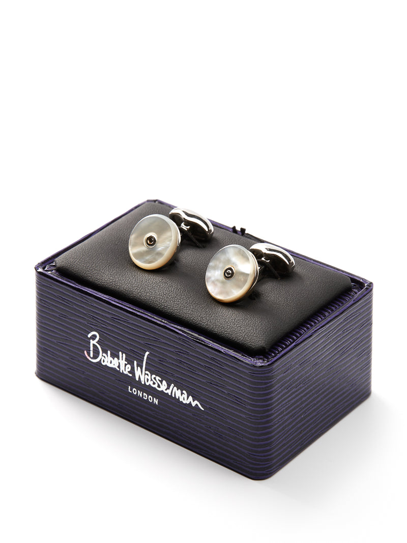 Babette Wasserman Mother of Pearl Round Silver Plate Cufflinks