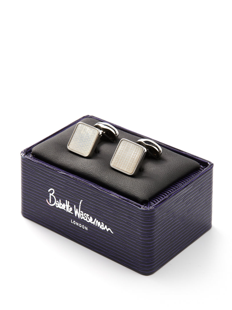 Babette Wasserman Mother of Pearl Square Silver Plate Cufflinks
