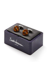 Babette Wasserman Tigers Eye Silver Plate Cufflinks