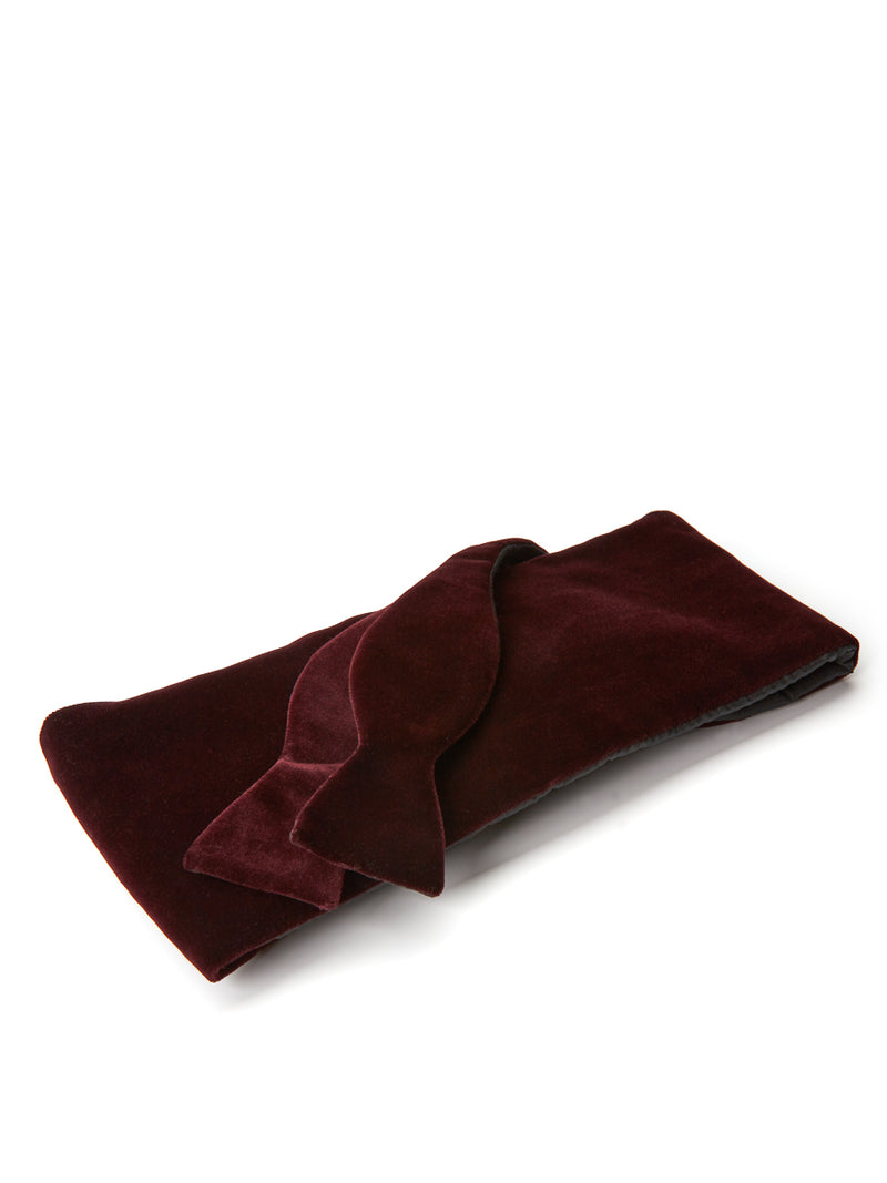 Burgundy Velvet Cotton Flat Cummerbund Set
