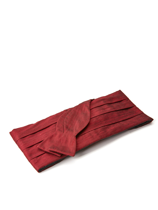 Burgundy Douppion Silk Pleated Cummerbund Set