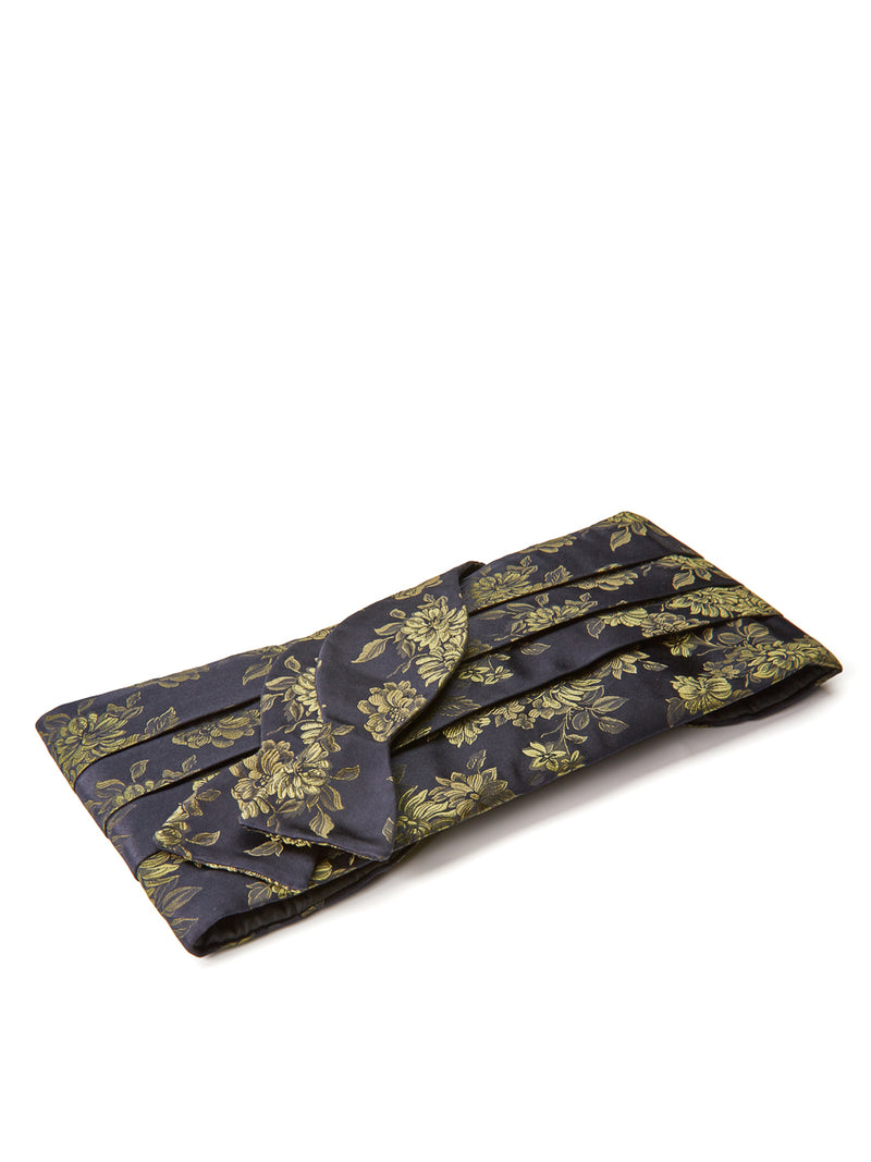 Olive Bourgainville Silk Pleated Cummerbund Set