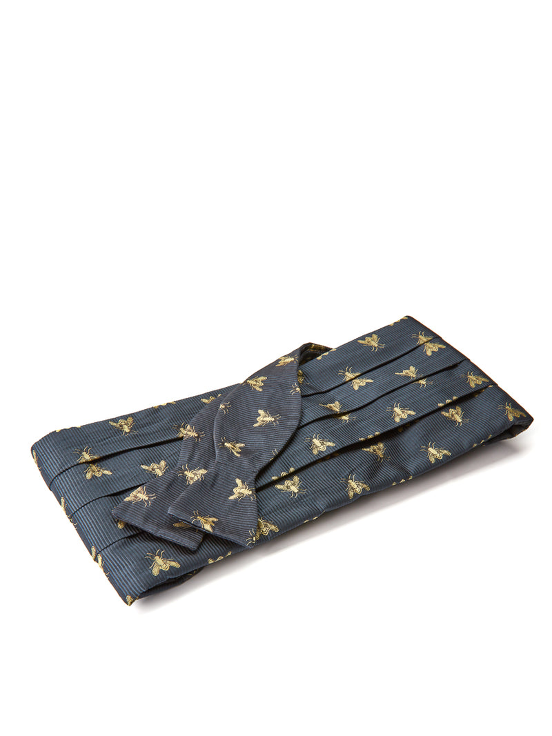 Navy Bees Silk Pleated Cummerbund Set