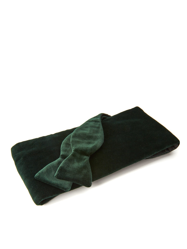 Racing Green Velvet Cotton Flat Cummerbund