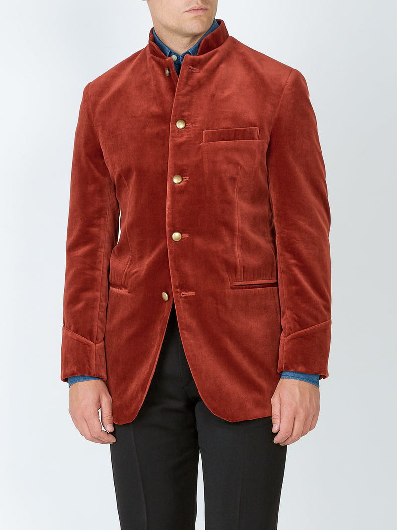 Rust Velvet Cotton Nehru Jacket