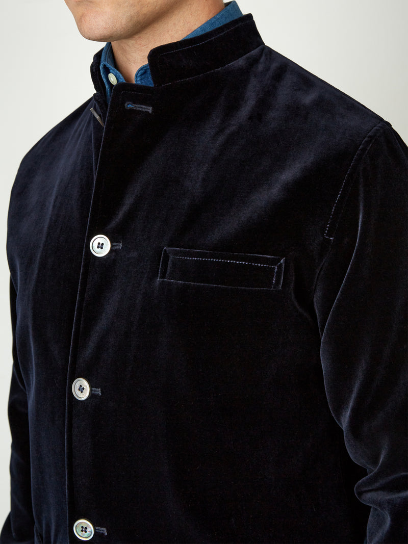 Navy Velvet Cotton Artist Jacket