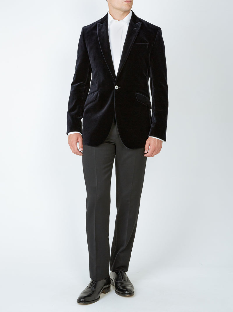 Navy Velvet Cotton Newport Jacket