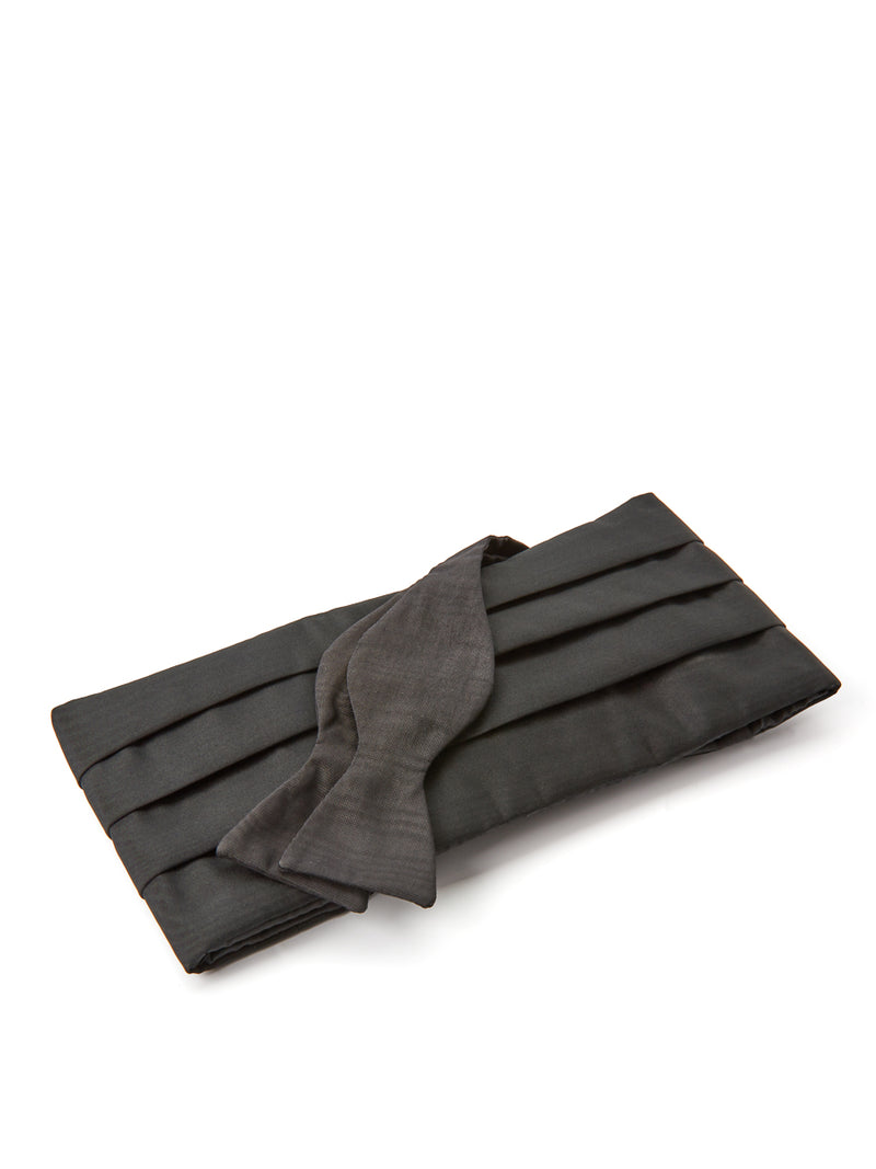Black Moire Silk Pleated Cummerbund Set