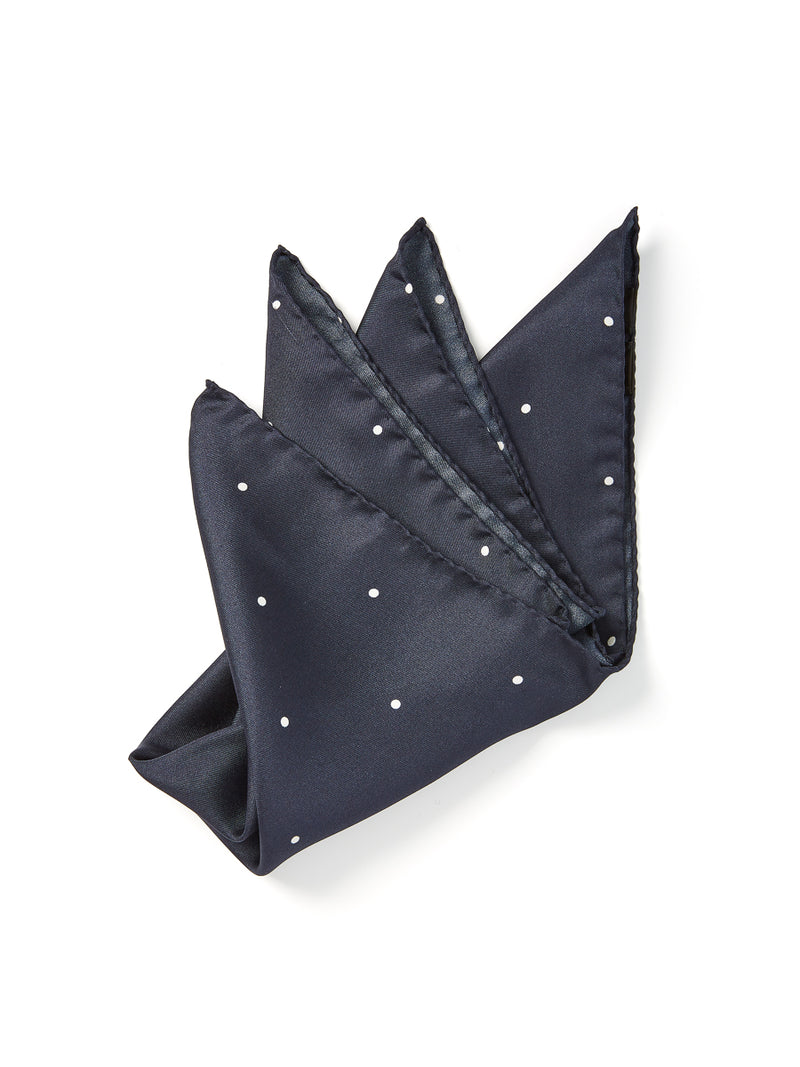 Navy Spot Silk Pocket Square