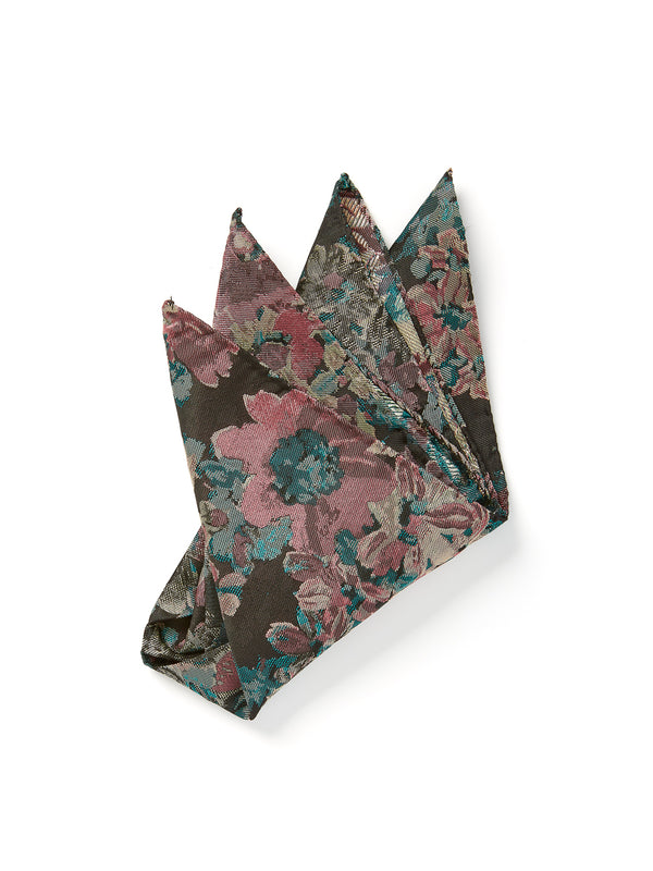 Pink Chatsworth Silk Wool Pocket Square