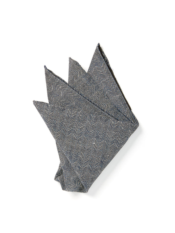 Navy Halton silk Pocket Square