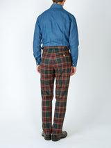 Multi Dunrobin Wool High waist flat front Trousers