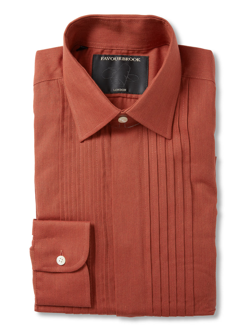 Burnt orange Cooper Cotton Pinned Tuck Dress Shirt