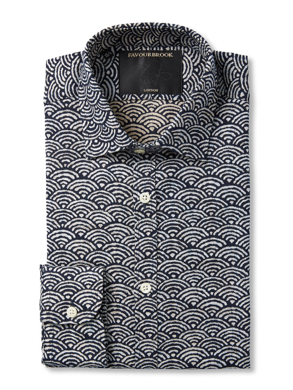 Navy / White Fan Cotton Burlington Shirt