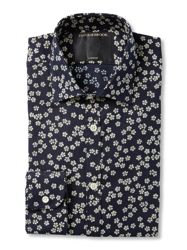 Navy / White Maples Cotton Burlington Shirt
