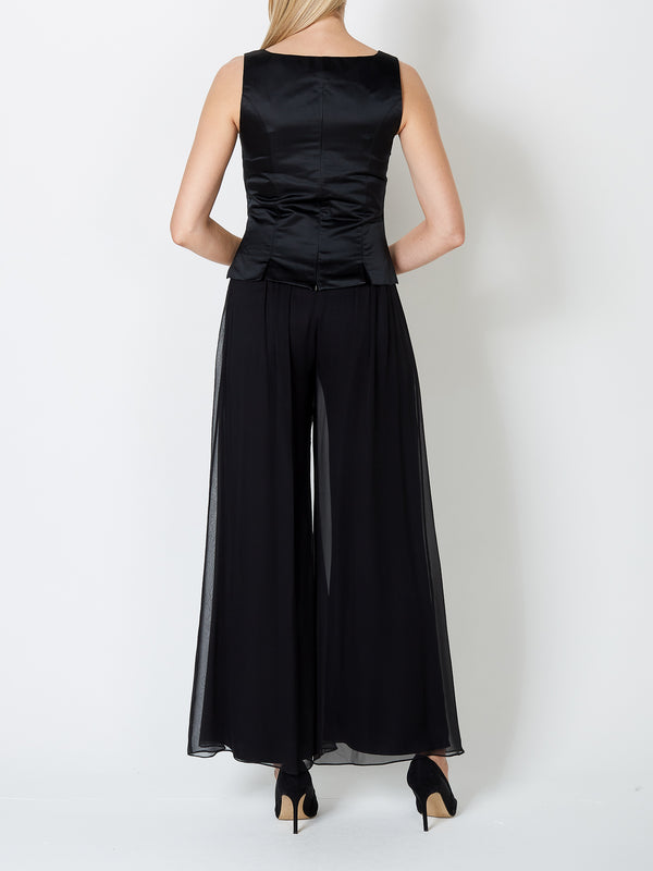 Black Plain Duchesse Satin Shell Top