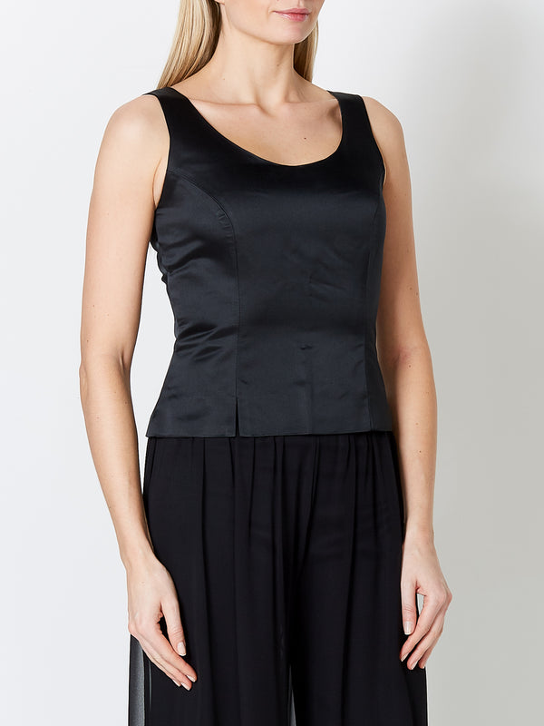 Shell Top Black Plain Duchesse Satin
